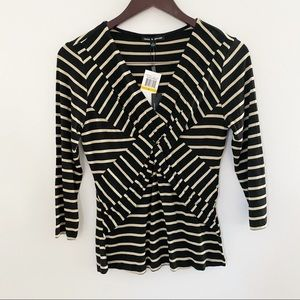 NWT Cable & Gauge Black & Tan striped V-neck Top